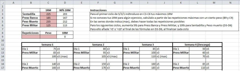 Súper calculadora 5/3/1 1